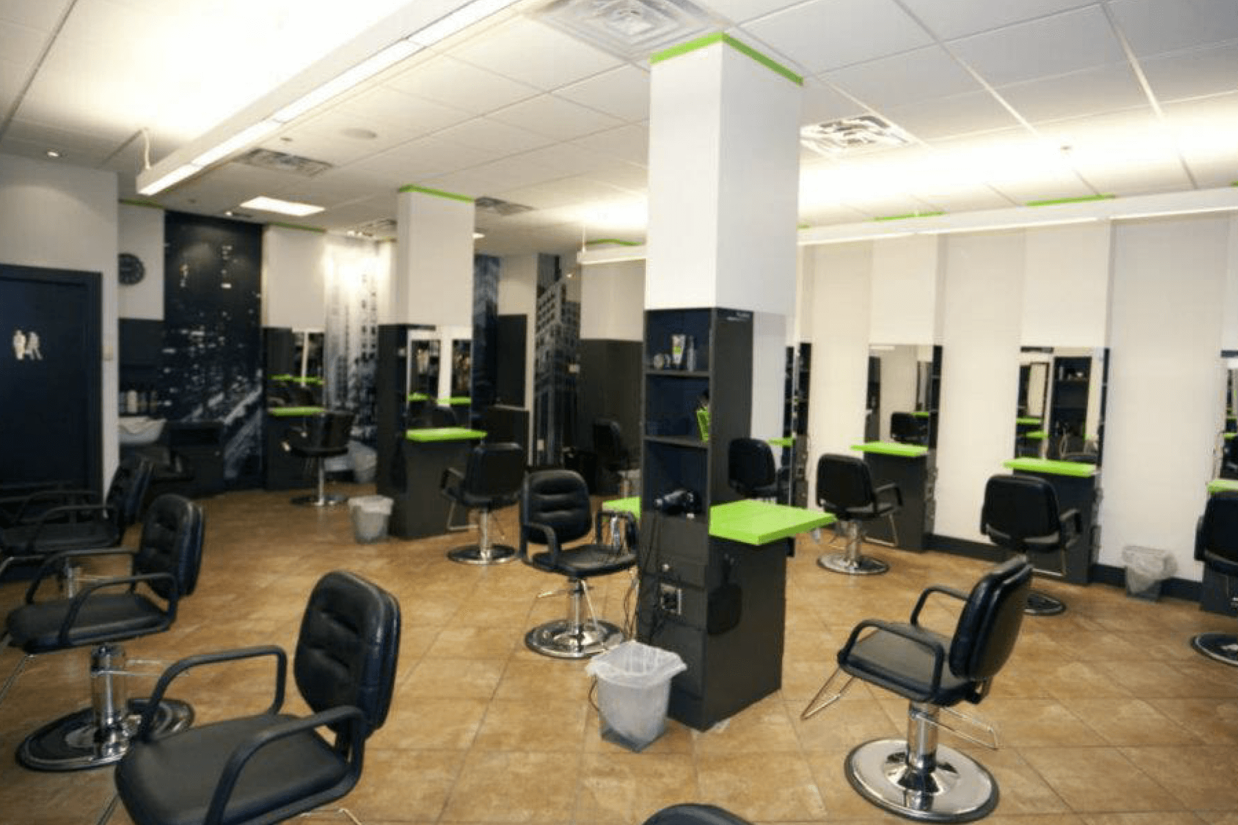 several salon chairs
